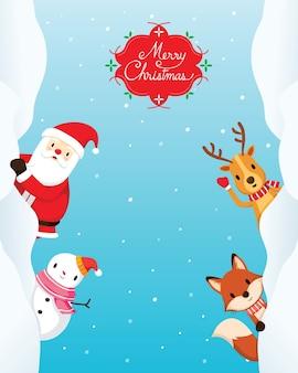 クリスマスの飾りフレームとサンタクロース、トナカイ、雪だるま、キツネの装飾