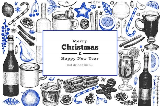 Christmas ornaments hand drawn greeting