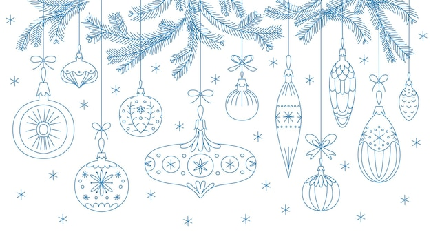 Christmas ornaments in retro style. hand drawn linear vector illustration isolated on a white background. festive banner, card, print, poster and other design.