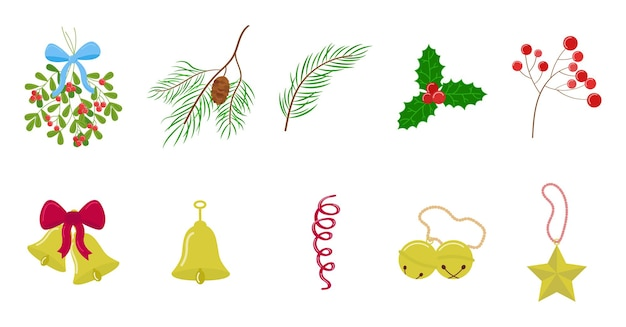 Christmas ornaments set. floral decorations vector collection. jingle bells, holly, fir branches.