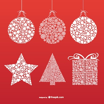 Christmas ornaments with snowflakes and stars