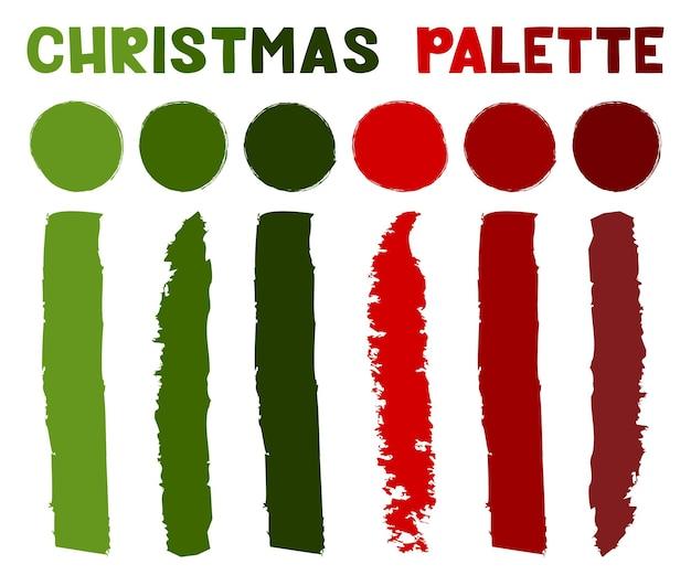 Рождественская палитра - набор образцов. векторная иллюстрация образцов цвета. цвета рождества.