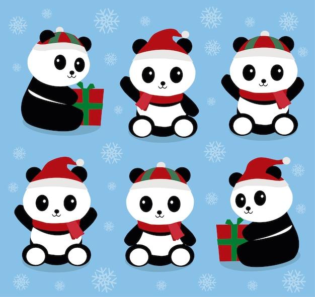 Christmas pandas