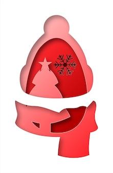 Christmas in paper art style. digital art