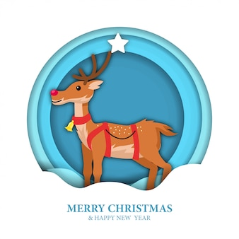Christmas paper cut reindeer