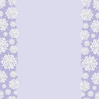 Christmas paper snowflakes frame background