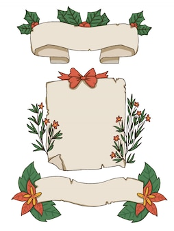 Christmas papers and decorative elements