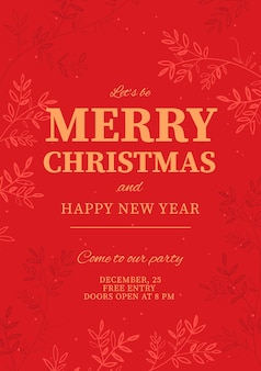 크리스마스 파티와 새 해 복 많이 받으세요 디자인 서식 파일 휴일 포스터 벡터 일러스트 레이 션