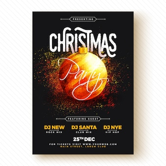 Christmas party banner or flyer design.