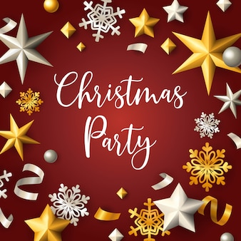 Christmas party banner with stars and flakes on red background