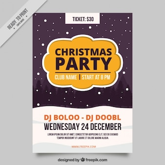 Christmas party brochure with falling snow