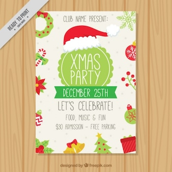 Christmas party brochure with ornaments