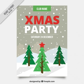 Christmas party brochure with trees and snow