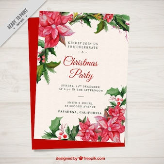 Christmas party brochure with watercolor poinsettias