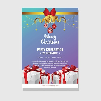 Christmas party card design with giftbox