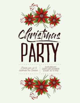 Christmas party card with colorful poinsettia flowers