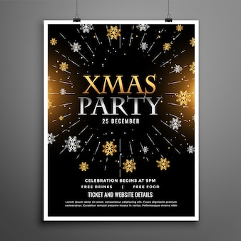 Christmas party celebration black flyer poster design template