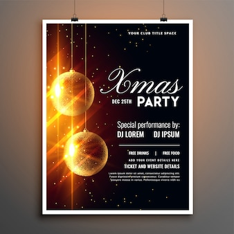 Christmas party celebration flyer poster template design