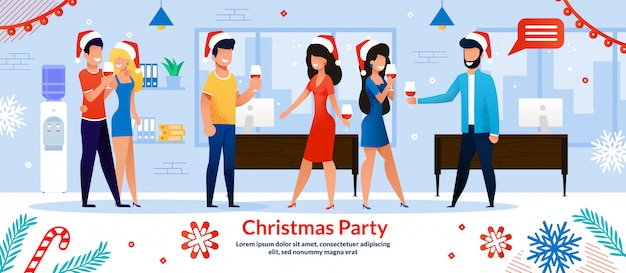 Christmas party in company office banner