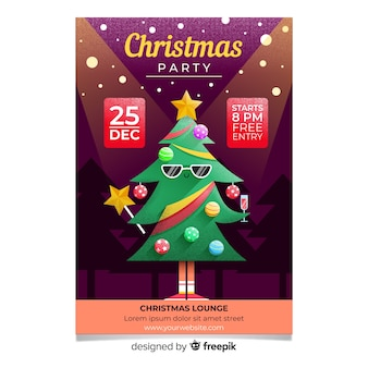 Christmas party cool tree flyer template