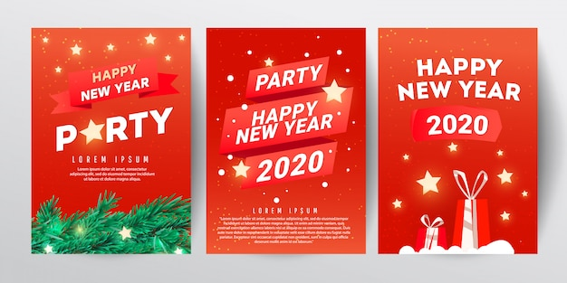 Christmas party design template set with branch fir tree, stars and red gifts on red background