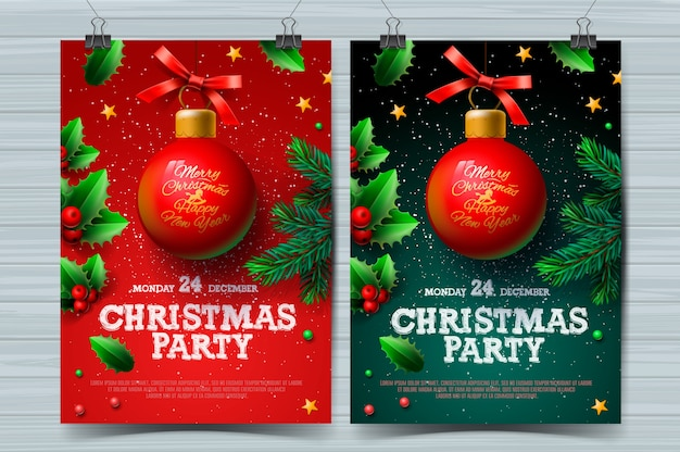Christmas party design templates, posters with ball and christmas decoration