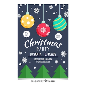 Christmas party different balls flyer template