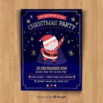 Christmas party disco santa claus flyer template