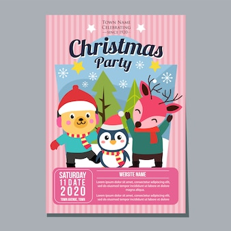 Christmas party festival holiday poster template dog penguin deer