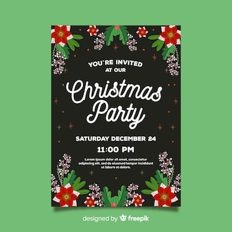 Christmas party flat flowers poster template