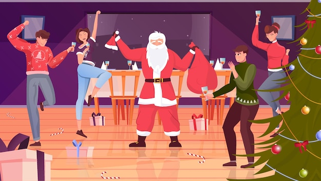산타 클로스와 샴페인 잔으로 휴가를 축하하는 사람들과 크리스마스 파티 평면 그림