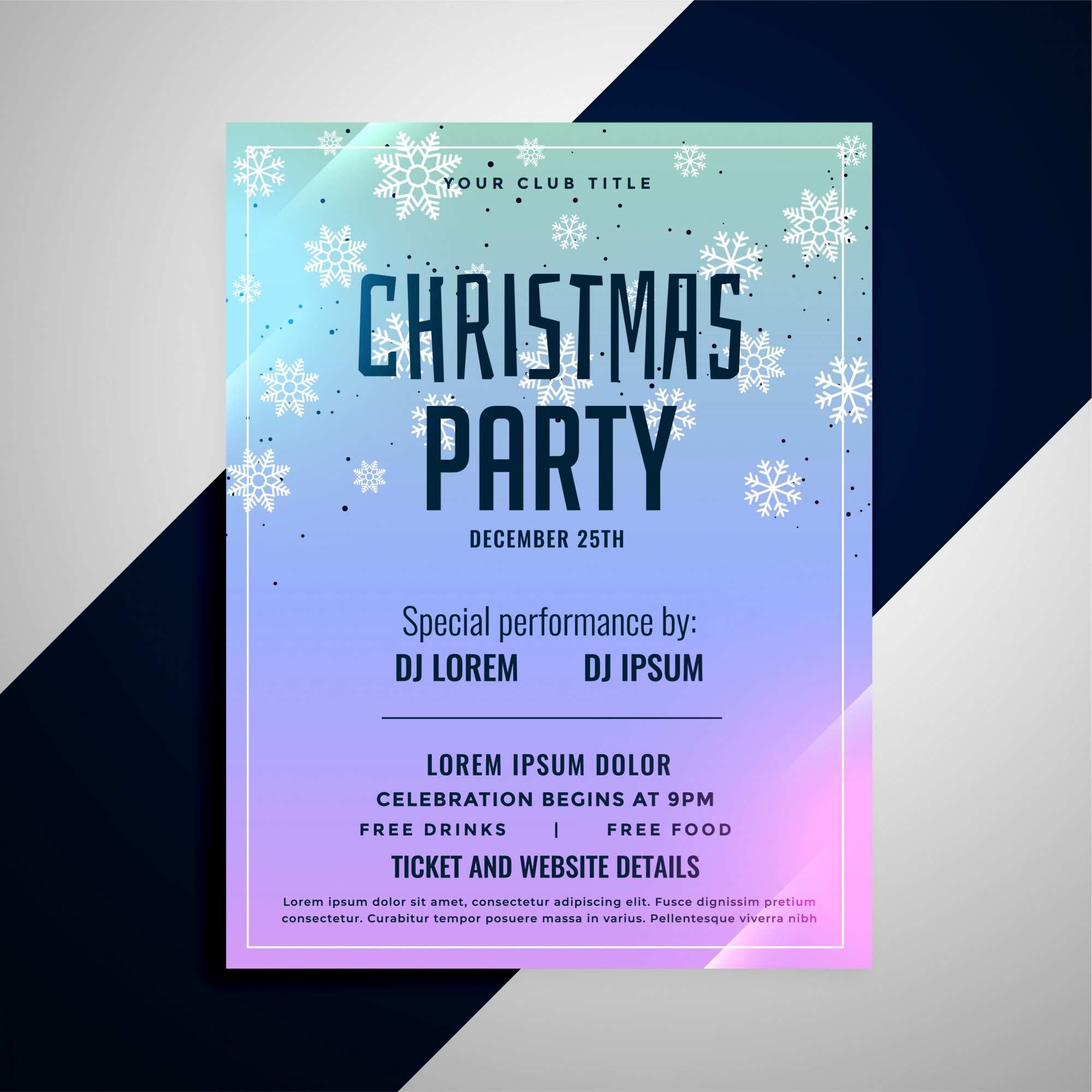 Christmas party flyer banner snowflakes template