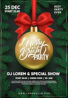Christmas party flyer design. 3d christmas ball with red bow.