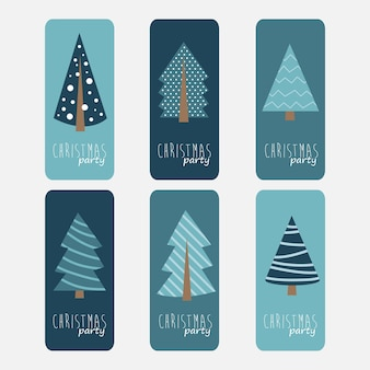 크리스마스 트리가 있는 크리스마스 파티 전단지 디자인 세트