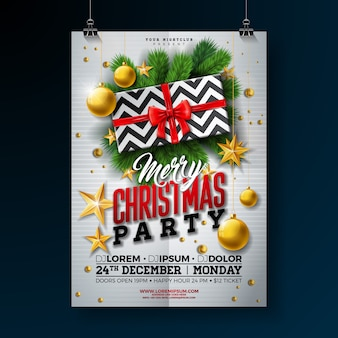 Christmas party flyer design with gift box and glass ball