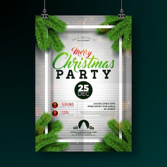 Christmas party flyer design with typography and pine branch