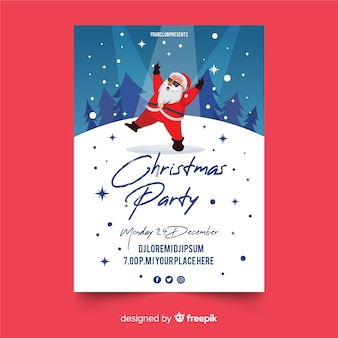 Christmas party flyer in flat design