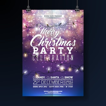 Christmas party flyer illustration with lights garland and typography lettering