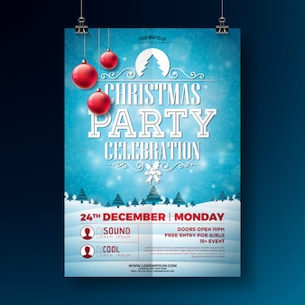 Christmas party flyer illustration