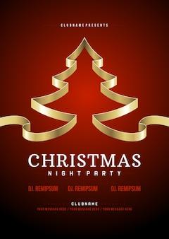 Рождественская вечеринка флаер приглашение дизайн типография и золотое дерево из ленты