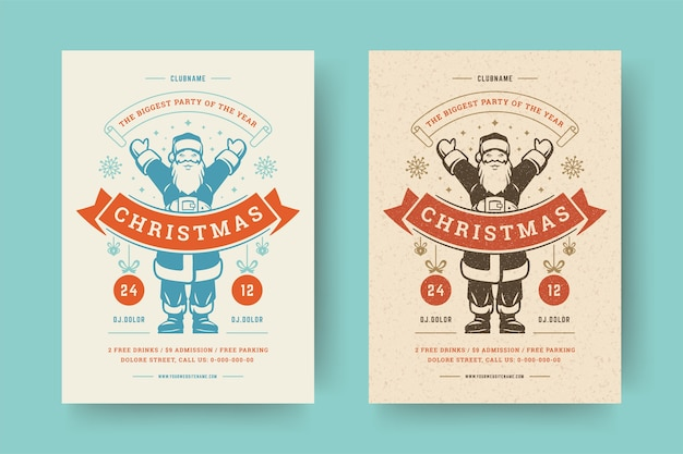 Christmas party flyer invitation modern typography and decoration elements with santa claus