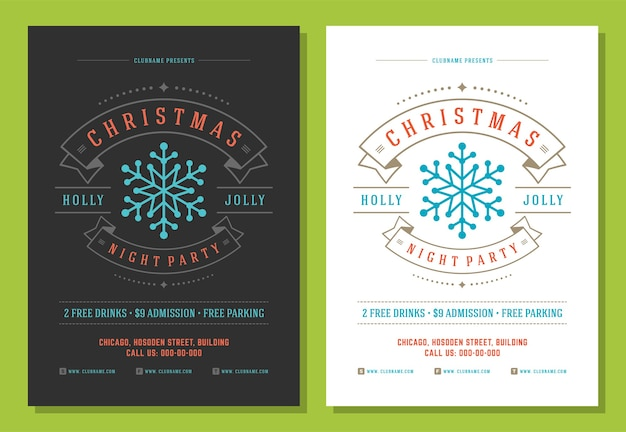 Christmas party flyer invitation retro typography and decoration elements. christmas holidays poster .