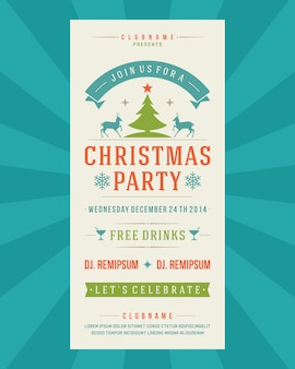 Christmas party flyer invitation vintage typography and decoration elements illustration.