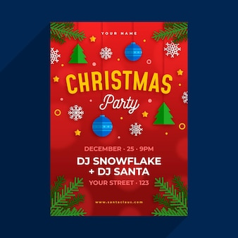 Christmas party flyer template in flat design