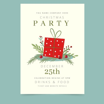 Christmas party flyer template in hand drawn style