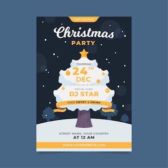 Шаблон флаера рождественской вечеринки в плоском дизайне