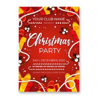 フラットなデザインのクリスマスパーティーチラシテンプレート