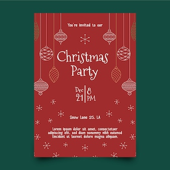 Christmas party flyer template in outline style