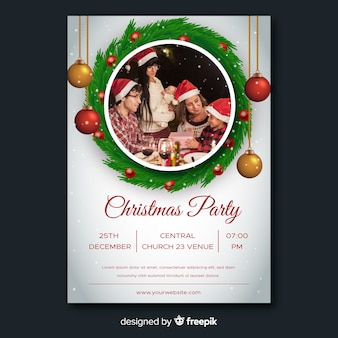 Christmas party flyer template with globes