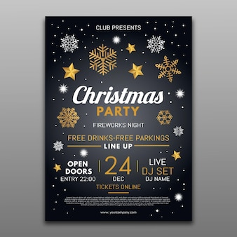 Christmas party flyer template with illustrated elements